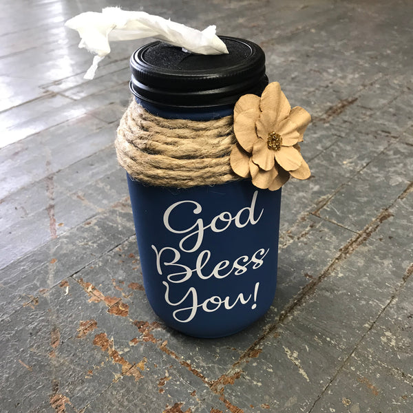 Mason Jar Tissue Holder God Bless You Slate Blue