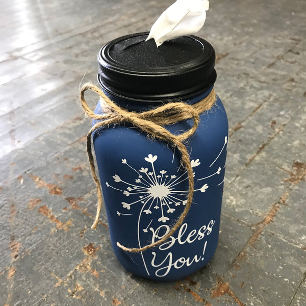 Mason Jar Tissue Holder Bless You Dandelion Slate Blue