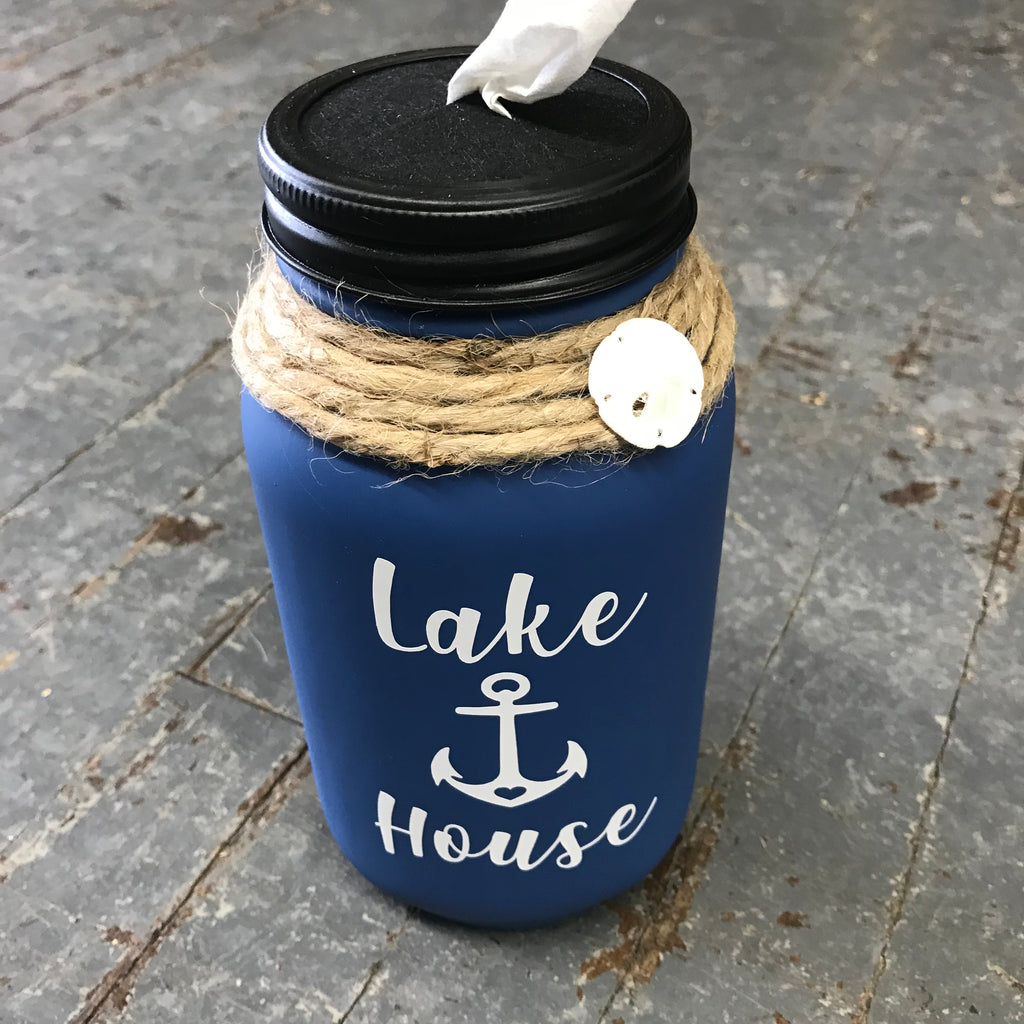 Mason Jar Tissue Holder Lake House Slate Blue
