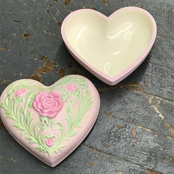 Ceramic Heart Valentine Love Box Candy Dish Urn
