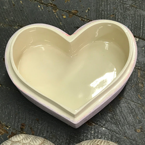 Ceramic Heart Angel Wings Candy Dish Urn You Give My Heart Wings Pink