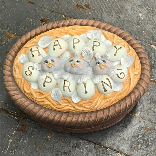 Ceramic Oval Basket Candy Dish Happy Spring Bird Nest