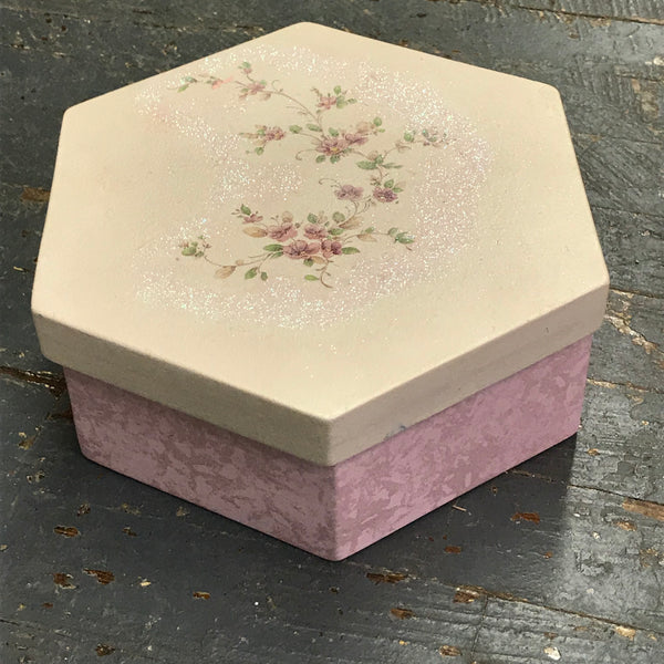 Ceramic Hexagon Valentine Love Box Candy Dish Floral Urn