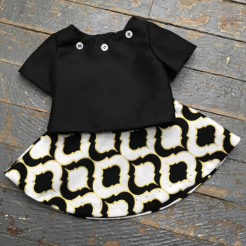 "Fits Like American Girl 18"" Doll Clothes Outfit Black Blouse Shirt Top and Black Gold Skirt"