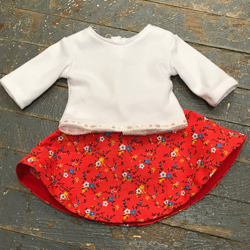 "18"" Doll Clothes Outfit White Blouse Shirt Top and Red Floral Skirt"
