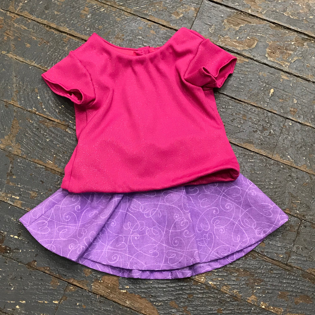 "18"" Doll Clothes Outfit Pink Glitter Blouse Shirt Top and Purple Swirl Skirt"