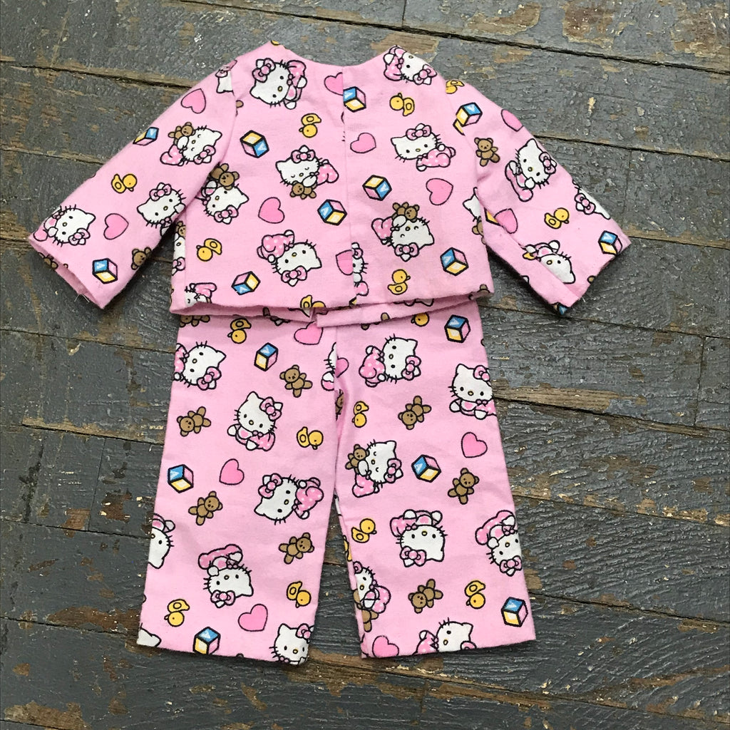 "Fits Like American Girl 18"" Doll Clothes Outfit Hello Kitty Top and Bottom Pajamas"