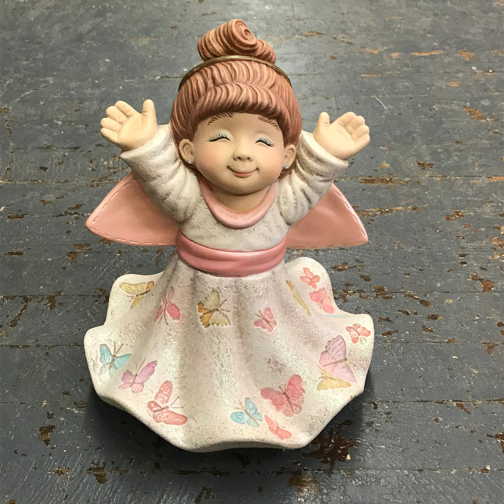 Ceramic Spring Butterfly Garden Girl Angel Statue Figurine