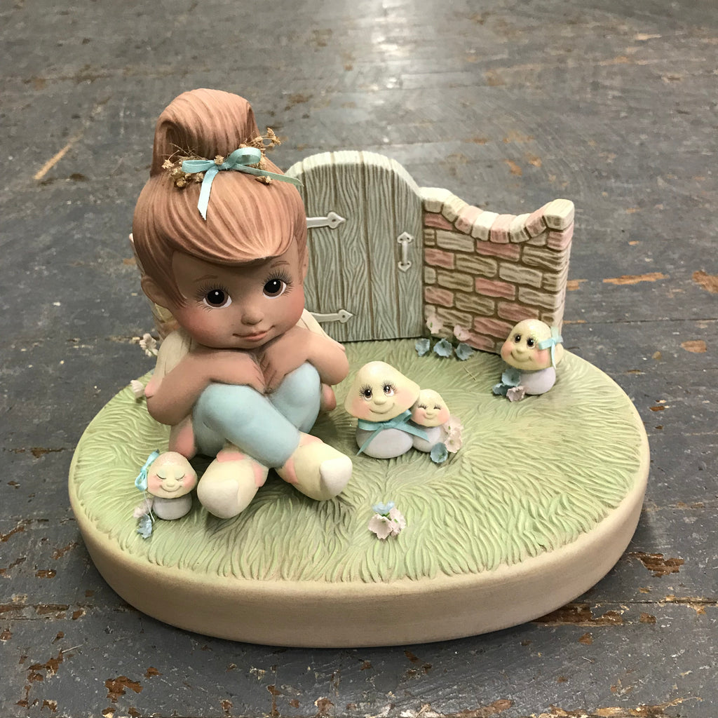 Ceramic Spring Garden Girl Fairy in Yard Mushroom Fence Statue Figurine