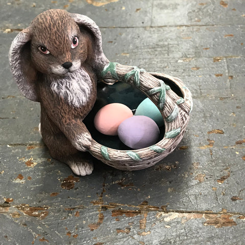 Ceramic Spring Easter Bunny Rabbit Basket with Eggs