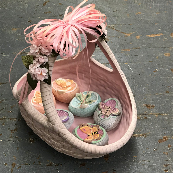 Ceramic Easter Basket Candy Dish with Butterfly Eggs