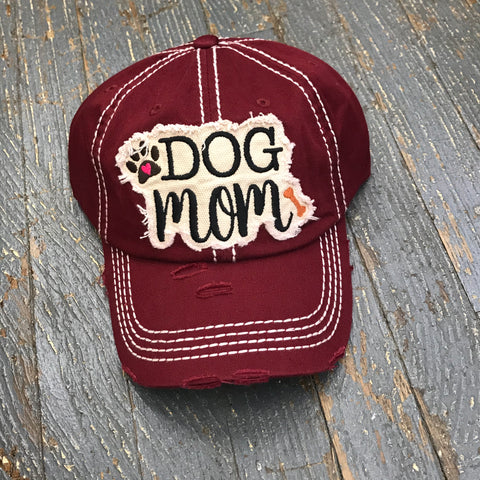 Dog Mom Hat Burgundy Embroidered Ball Cap