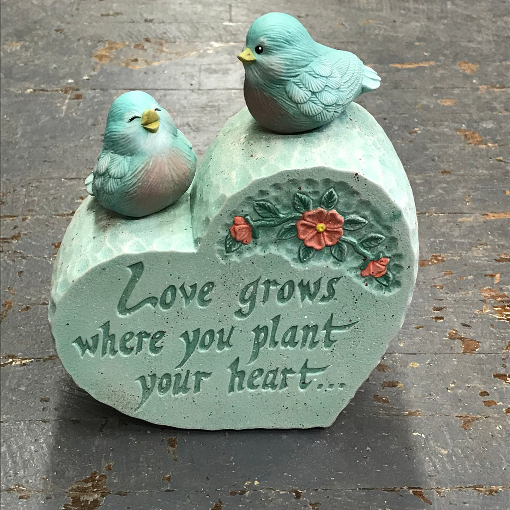 Ceramic Spring Birds Heart Garden Stone Love Grows Where You Plant Your Heart