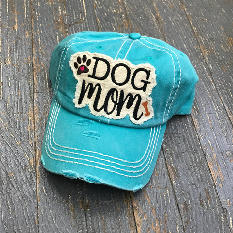 Dog Mom Hat Teal Embroidered Ball Cap