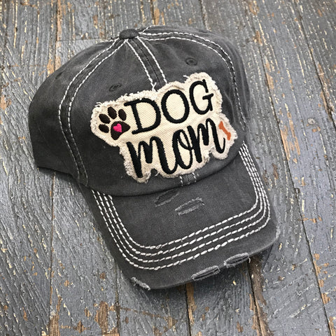 Dog Mom Hat Grey Embroidered Ball Cap