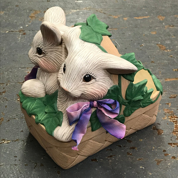 Ceramic Easter Bunny Rabbit Basket Candy Dish Planter