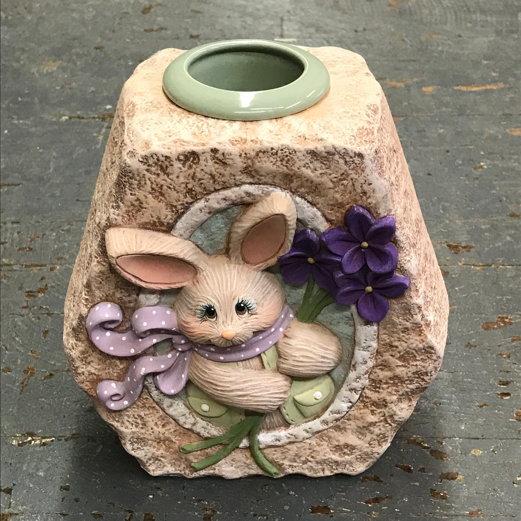 Ceramic Spring Bunny Rabbit Violet Flower Votive Candle Holder