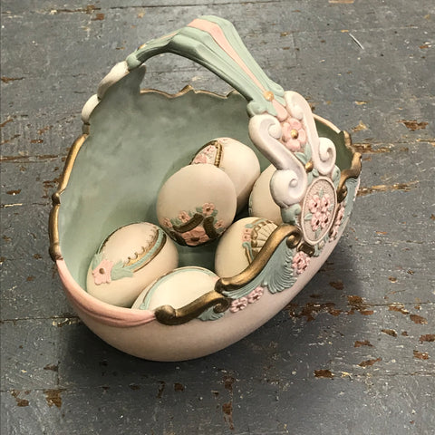 Ceramic Ornate Easter Basket Candy Dish with Elegant Eggs