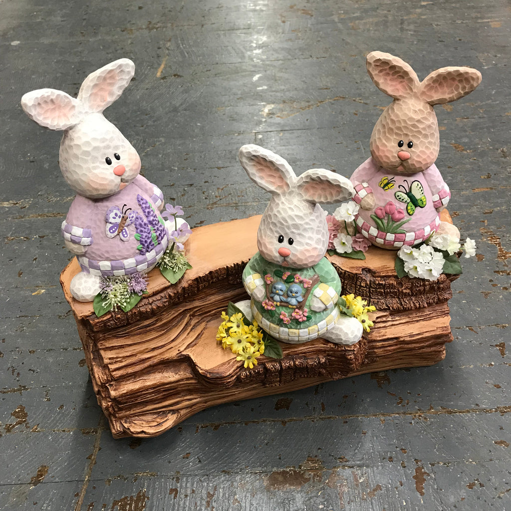 Ceramic Spring Bunny Rabbit Butterfly Blue Bird Garden Log Display