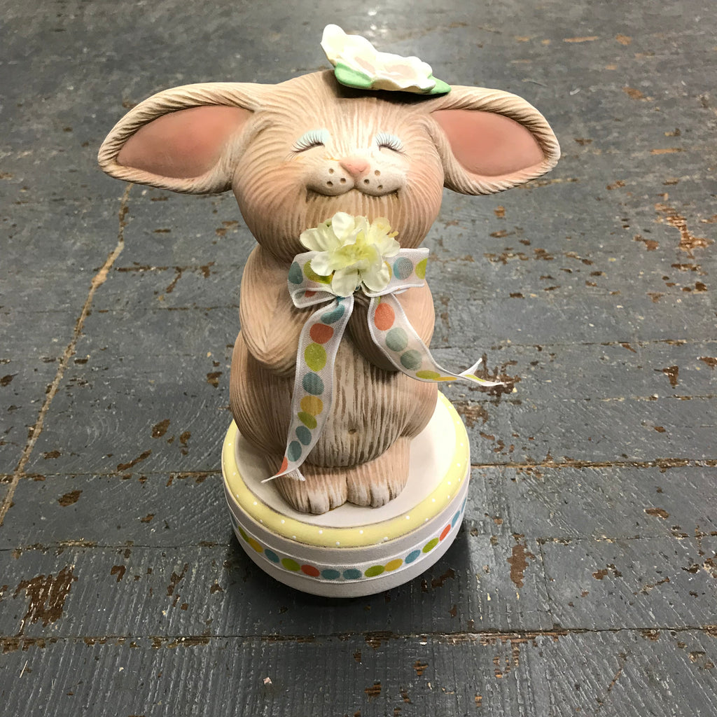 Ceramic Spring Easter Bunny Rabbit Music Box Singing in the Rain