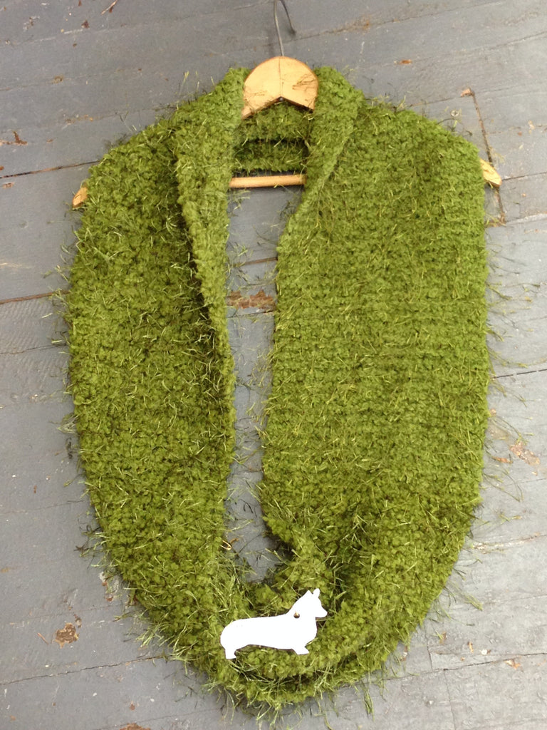 Neck Warmer Crochet Knit Avocado Green from Designs by Suzanne