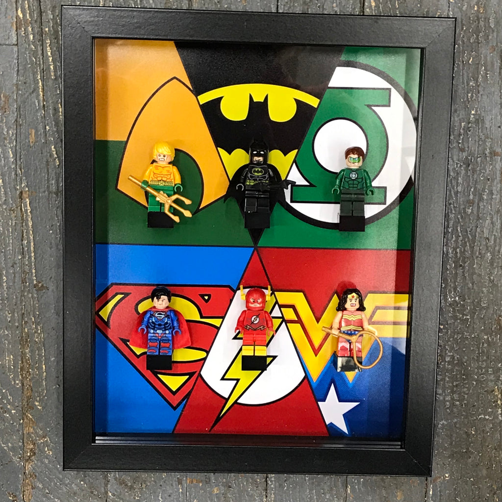 Justice League Character Comic Lego Figurine Wall Display Picture Frame Toy Art