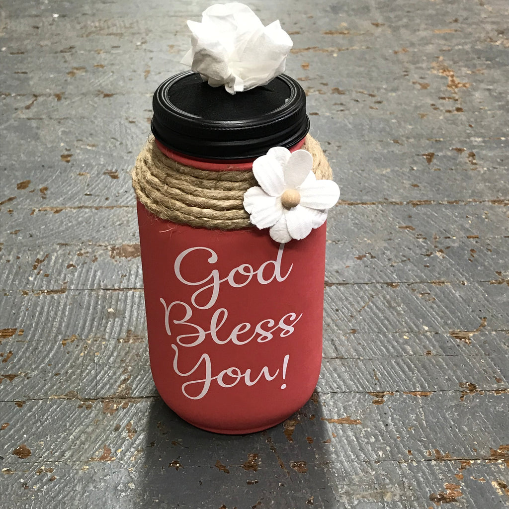 Mason Jar Tissue Holder God Bless You Blush