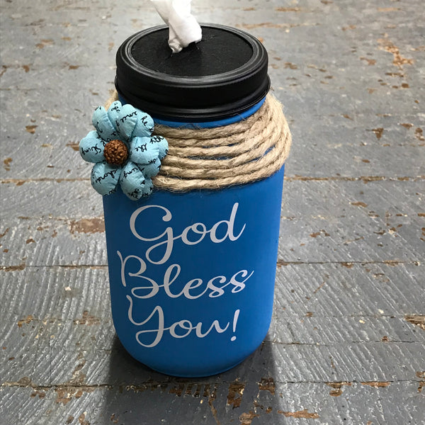 Mason Jar Tissue Holder God Bless You Bermuda Blue