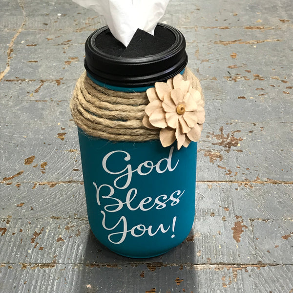 Mason Jar Tissue Holder God Bless You Turquoise