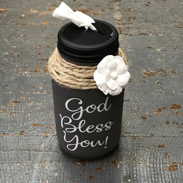 Mason Jar Tissue Holder God Bless You Charcoal Grey