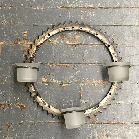 Upcycled Trio Votive Candle Holder Wall Hanger Welded Gear Art Sculpture