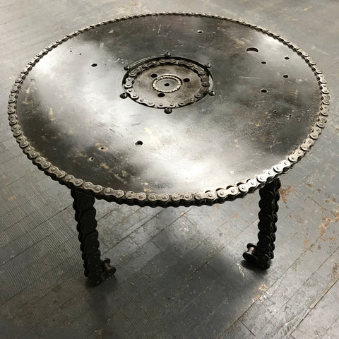 Upcycled Disc Coffee Table Chain Welded Gear Art Sculpture