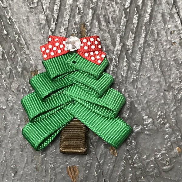 Hair Clip Ribbon Sculpture Headband Bow Holiday Christmas Tree