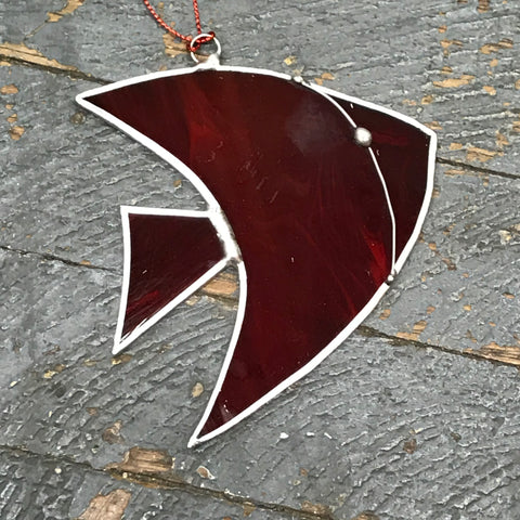 Stained Glass Sun Catcher Ornament Red Angel Fish