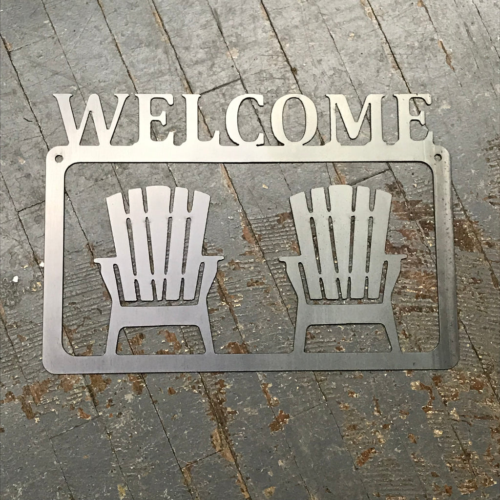 Welcome Porch Beach Chair Metal Sign Wall Hanger