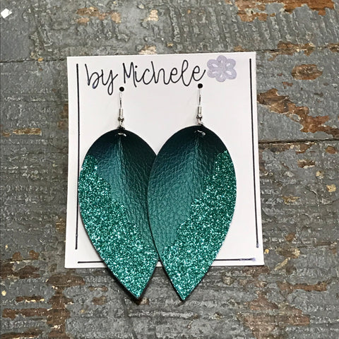 Teal Glitter Faux Leather Solid Teardrop Fishhook Dangle Earring Set