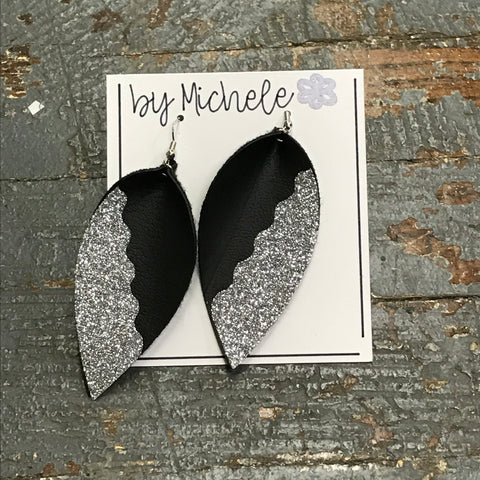 Black Silver Glitter Faux Leather Solid Teardrop Fishhook Dangle Earring Set