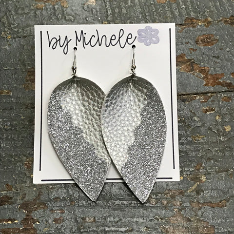 Silver Glitter Faux Leather Solid Teardrop Fishhook Dangle Earring Set
