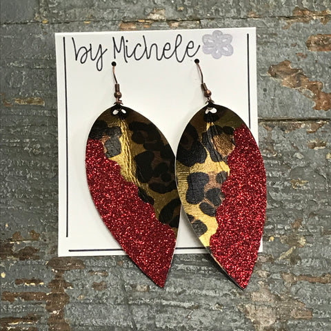 Leopard Red Glitter Faux Leather Solid Teardrop Fishhook Dangle Earring Set