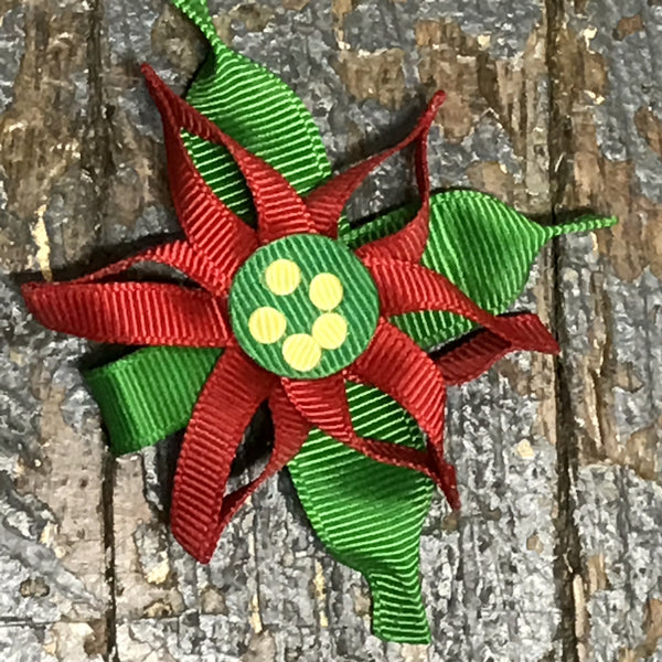 Hair Clip Ribbon Sculpture Headband Bow Holiday Christmas Poinsettia