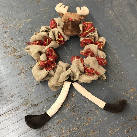 Rudolph the Red Nose Reindeer Christmas Holiday Wreath Door Hanger