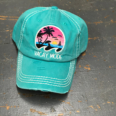 Vacay Mode Rugged Teal Embroidered Ball Cap