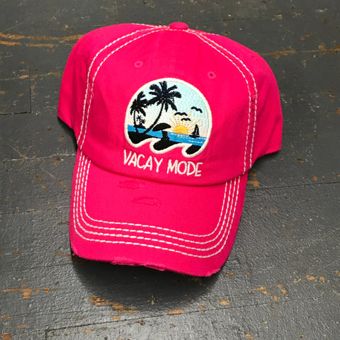 Vacay Mode Rugged Pink Embroidered Ball Cap