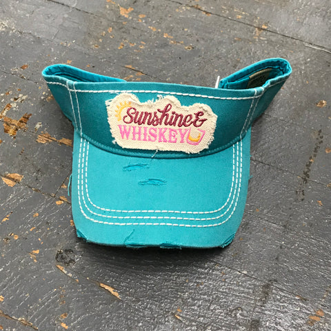 Sunshine Whiskey Patch Rugged Teal Embroidered Ball Cap Visor