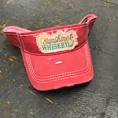 Sunshine Whiskey Patch Rugged Coral Pink Embroidered Ball Cap Visor