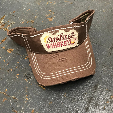 Sunshine Whiskey Patch Rugged Brown Embroidered Ball Cap Visor