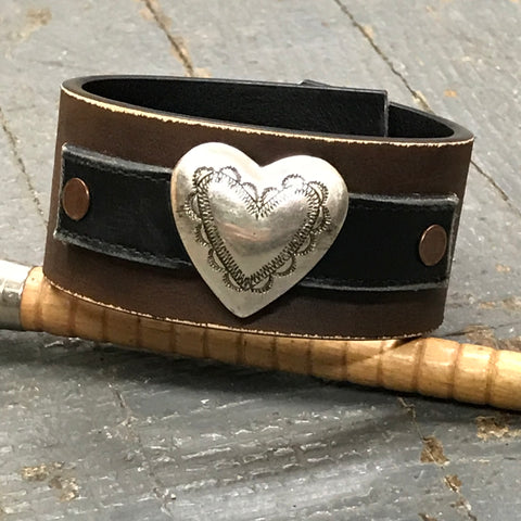 Brown Black Leather Silver Heart Belt Snap Bracelet