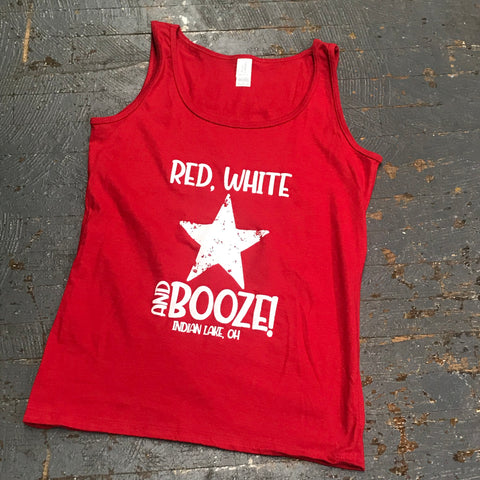 Red White Booze Indian Lake Ohio Red Star T-Shirt Coral Graphic Designer Tank