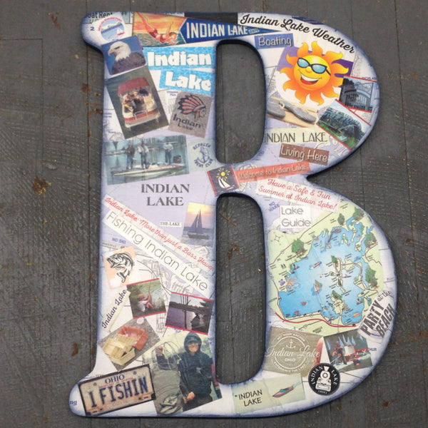 Indian Lake Memorabilia Dimensional Wood Decoupage Monogram Alphabet Letter B