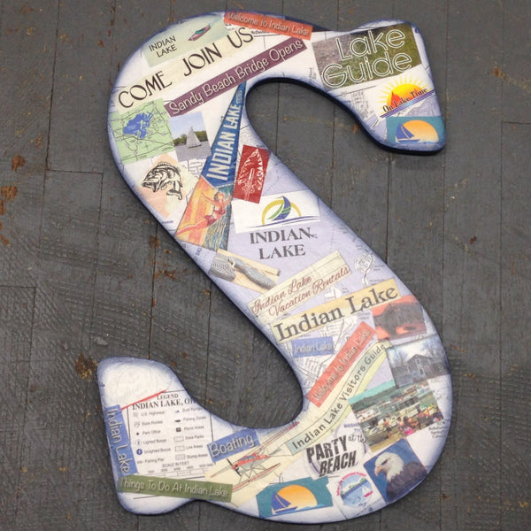 Indian Lake Memorabilia Dimensional Wood Decoupage Monogram Alphabet Letter S